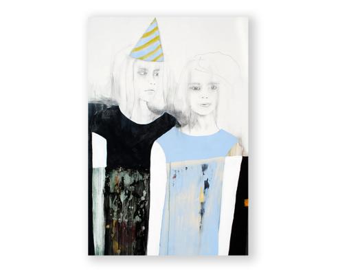 """Sylvain Leblanc, artiste peintre figuratif abstrait. Canton-de-l'Est, Québec, Canada. Titre : Bon anniversaire """"Sweet Sister"""""""