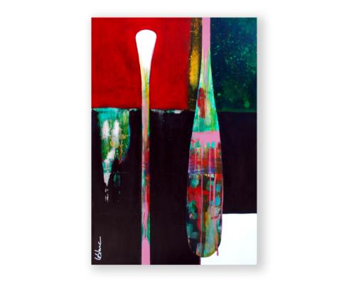 Sylvain Leblanc, artiste peintre figuratif abstrait. Canton-de-l'Est, Québec, Canada. Titre : Celle qui nous mène
