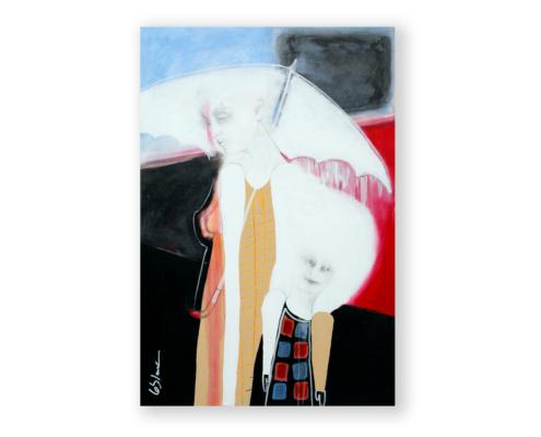 Sylvain Leblanc, artiste peintre figuratif abstrait. Canton-de-l'Est, Québec, Canada. Titre : Cette fois-ci ce n'est pas que la pluie qui avait mouillé ses yeux