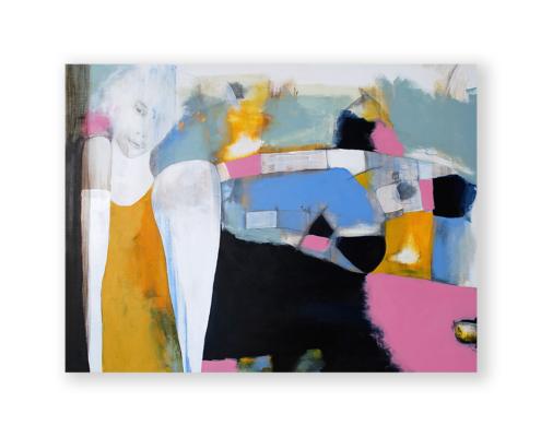 Sylvain Leblanc, artiste peintre figuratif abstrait. Canton-de-l'Est, Québec, Canada. Titre : Sous le regard du geai bleu