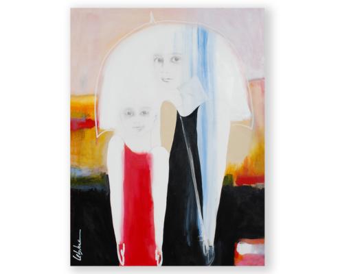 Sylvain Leblanc, artiste peintre figuratif abstrait. Canton-de-l'Est, Québec, Canada. Titre : Ce n'est pas la pluie qui m'inquiète