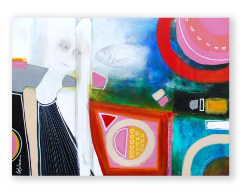 Sylvain Leblanc, artiste peintre figuratif abstrait. Canton-de-l'Est, Québec, Canada. Titre : Ces surprenantes rencontres que l'on garde pour soi