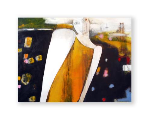 Sylvain Leblanc, artiste peintre figuratif abstrait. Canton-de-l'Est, Québec, Canada. Titre : J'entendais les fleurs pleurer