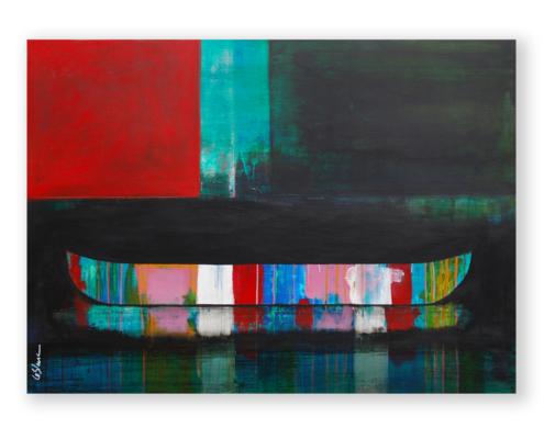 Sylvain Leblanc, artiste peintre figuratif abstrait. Canton-de-l'Est, Québec, Canada. Titre : La couleur des horizons