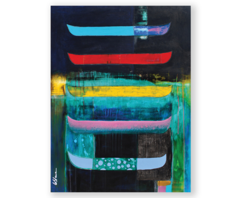 Sylvain Leblanc, artiste peintre figuratif abstrait. Canton-de-l'Est, Québec, Canada. Titre : Le doux reflet des apparences