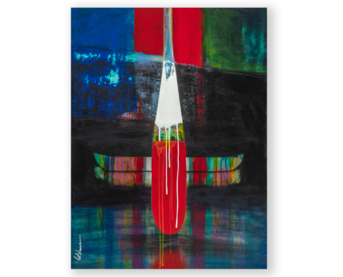 Sylvain Leblanc, artiste peintre figuratif abstrait. Canton-de-l'Est, Québec, Canada. Titre : Le silence de la pénombre