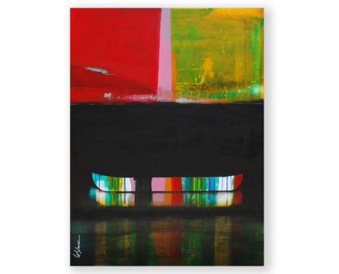 Sylvain Leblanc, artiste peintre figuratif abstrait. Canton-de-l'Est, Québec, Canada. Titre : Le soleil s'était endormi au creux du lac