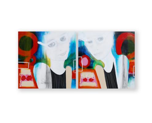 Sylvain Leblanc, artiste peintre figuratif abstrait. Canton-de-l'Est, Québec, Canada. Titre : Les jumelles à lunette
