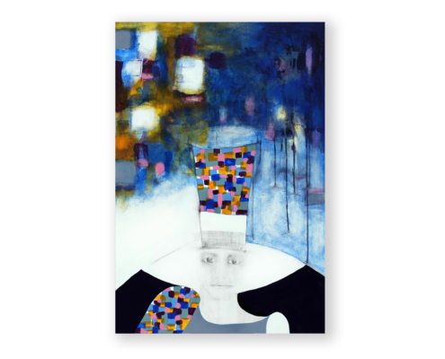 Sylvain Leblanc, artiste peintre figuratif abstrait. Canton-de-l'Est, Québec, Canada. Titre : Même sous mon chapeau