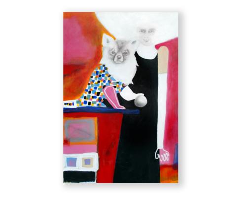 Sylvain Leblanc, artiste peintre figuratif abstrait. Canton-de-l'Est, Québec, Canada. Titre : Titre : Moi, la balle et la belle vie de ma chienne