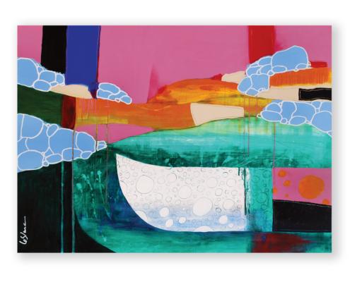 Sylvain Leblanc, artiste peintre figuratif abstrait. Canton-de-l'Est, Québec, Canada. Titre : Tous ces voyages que l'on laisse derrière soi