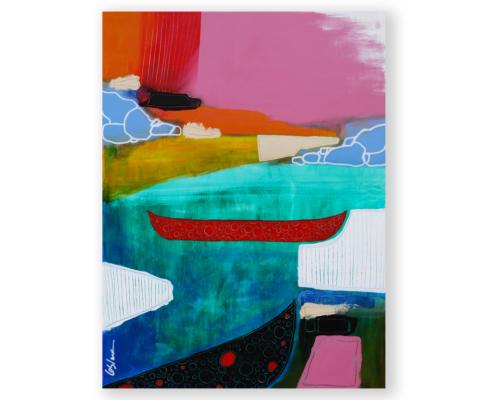 Sylvain Leblanc, artiste peintre figuratif abstrait. Canton-de-l'Est, Québec, Canada. Titre : Tranquille comme un canot