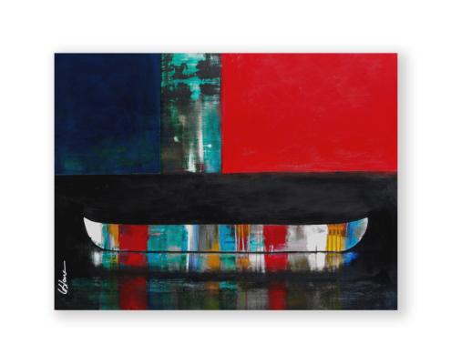 Sylvain Leblanc, artiste peintre figuratif abstrait. Canton-de-l'Est, Québec, Canada. Titre : Vu de loin, oui tout est calme