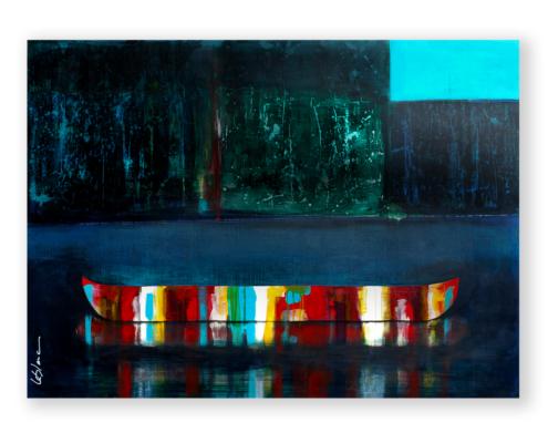 Sylvain Leblanc, artiste peintre figuratif abstrait. Canton-de-l'Est, Québec, Canada. Titre : Ce coin de ciel bleu que je me suis gardé «bis»