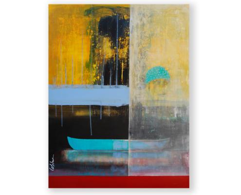 Sylvain Leblanc, artiste peintre figuratif abstrait. Canton-de-l'Est, Québec, Canada. Titre : Cette intime nonchalance des flots / I'm swimming in the rain
