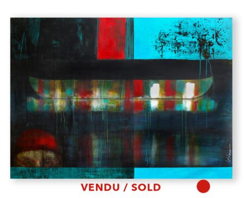 Sylvain Leblanc, artiste peintre figuratif abstrait. Canton-de-l'Est, Québec, Canada. Titre : Sous l'ivresse des regards